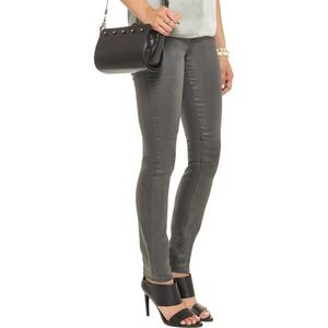 Helmut Lang Gray Coated Mid-Rise Skinny Jeans